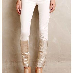 NWT Paige white denim skinny jean w/gold sz 31